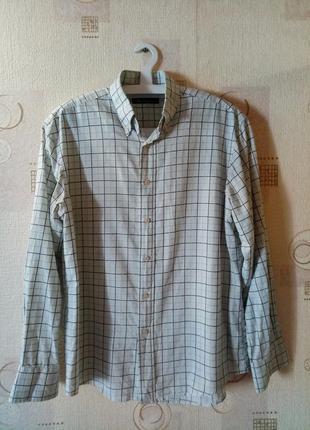 Мужская рубашка с длинным рукавом в клетку