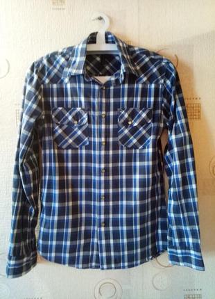 Мужская рубашка синяя в клетку с длинным рукавом