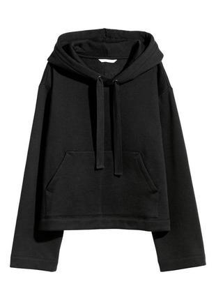 Чёрное худи толстовка свитшот с капюшоном h&m
