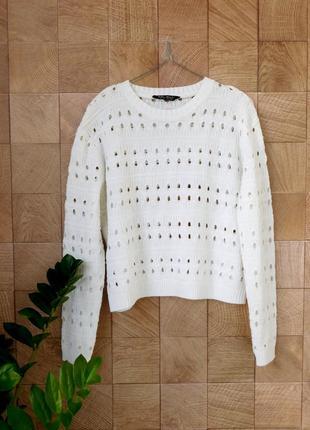 Белый свитер реглан джемпер красивой вязки от select