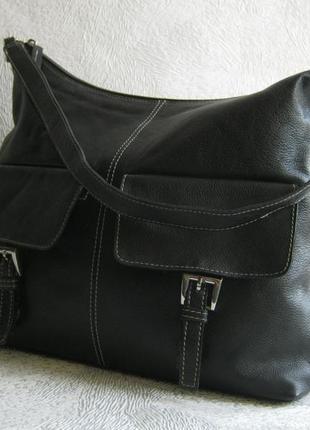 Bhs сумка кожаная 33х25х7 длинная ручка через плечо натуральная кожа