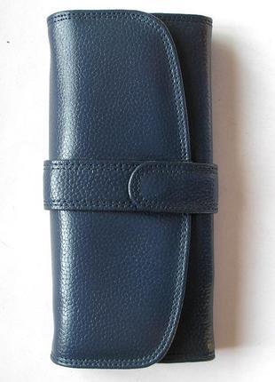 Кожаный классический кошелек индиго, 100% натуральная кожа, доставка бесплатно