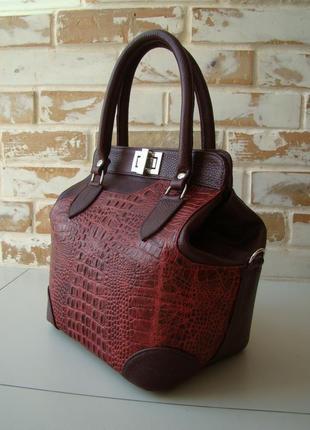 Шикарная кожаная женская сумка-саквояж /бордовая сумка/женская сумка