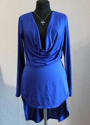 Блуза/туника с удлиненной спинкой и декольте,р.m-l