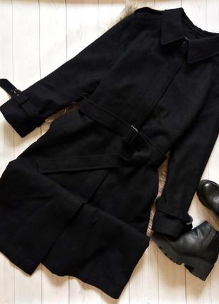 Длинное теплое шерстяное пальто тренч в винтажном стиле