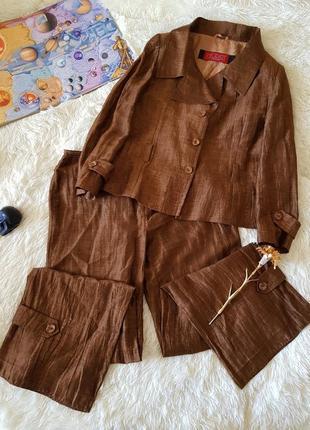 Льняной винтажный брючный костюм (брюки пиджак)