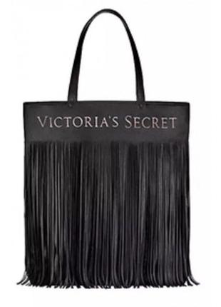 Новач оригинальная чёрная сумка с бахромой victoria's secret большая сумка шопер