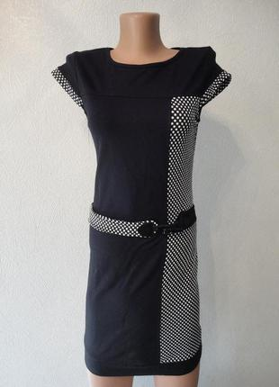 Платье, сарафан в обтяжку, горох, короткое классическое черное