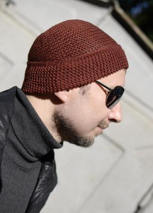 Мериносова шапка біні, коричнево-червона