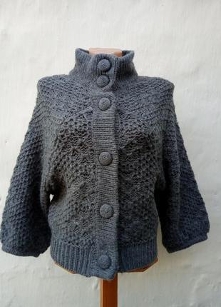 Меланжевая теплая вязаная шерстяная кофта на пуговицах,французкий рукав,жакет.