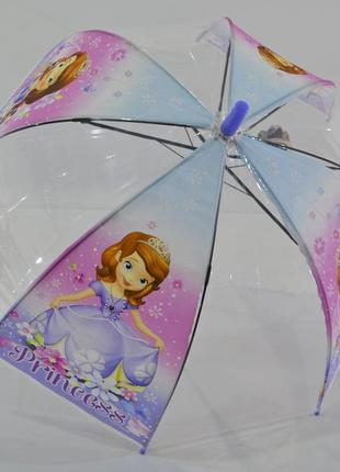 Зонт для девочки зонтик детский прозрачный купольный принцесса софия