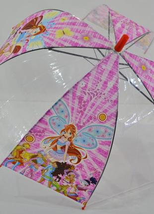 Зонт для девочки зонтик детский прозрачный феи винкс