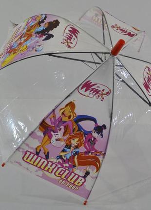Зонт для девочки зонтик детский прозрачный купольный принцесса фрозен барби