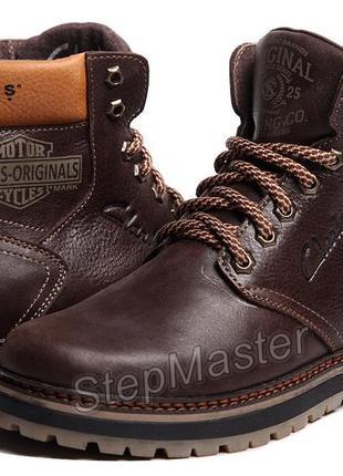 Ботинки кожаные clarks biker boots коричневые
