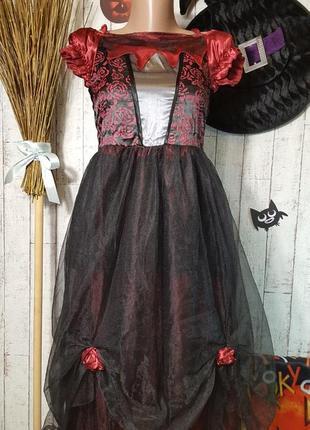 Маскарадное платье ведьмы карнавальный костюм на хэллоуин  helloween 12 - 13 лет