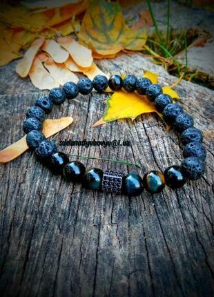 Крутой мужской браслет из натуральных камней, фурнитура хромированная с фианитами