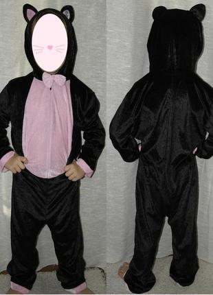 Tesco костюм велюр карнавальный кошечка комбинезон кигуруми девочке слип