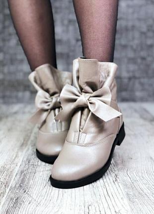 Демисезонные ботинки с бантом  milly (синего цвета)
