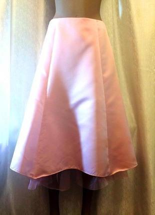 Пышная атласная юбка миди  с фатином!
