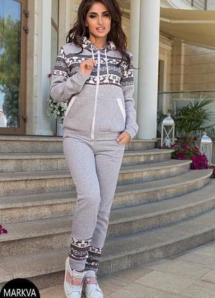 Снова! теплый женский спортивный костюм с оленями - на флисе- зимний - 3e0e1e8962e2e