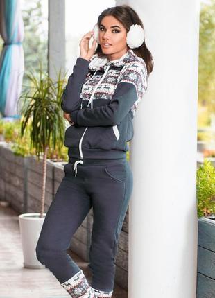 Снова! теплый женский спортивный костюм с оленями - на флисе- зимний -