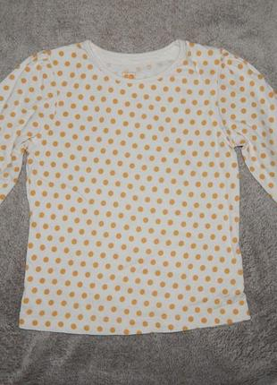 Белая трикотажная футболка tu в золотой горошек на девочку 3-4 года. рост 98-104 см.1 фото