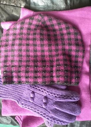 Шапка, перчатки,шарф