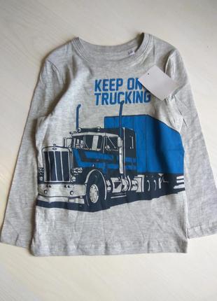 Серый ренлан для мальчика с принтом  грузовика