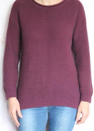 Стильный коттоновый свитер марсала крупная вязка
