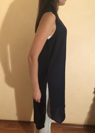 Темно синяя шифоновая блуза