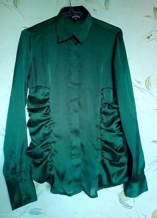 f4f0b6a0f2f Шикарная атласная блузка очень красивого бутылочно зеленого цвета1 ...