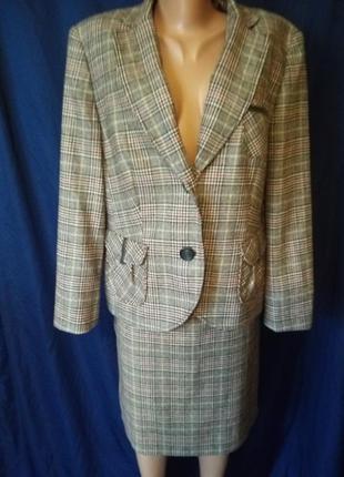 Шикарный теплый деловой офисный костюм юбка осенний шерстяной шерсть в клетку клетчатый