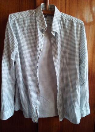 Рубашка офисная бело-черная