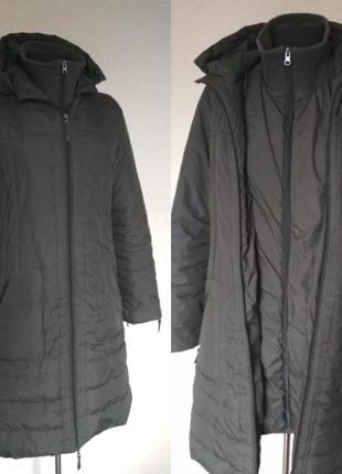 Брендовая демисезонная удлиненная куртка на синтепоне
