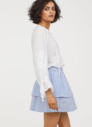 Хлопковая юбка в полоску h&m logg
