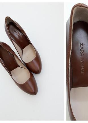 Шикарные коричневые туфли от zara кожаные туфли на высоком каблуке camel 36