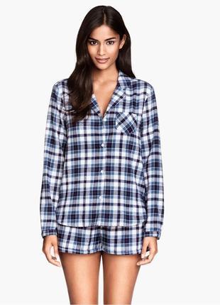 Новая фланелевая пижама h&m в клетку, костюм для дома, рубашка и шорты