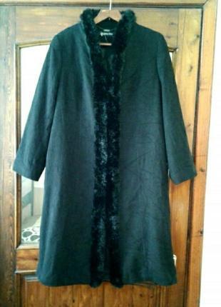 """Теплое стильное английское пальто """" black style"""" большого размера"""