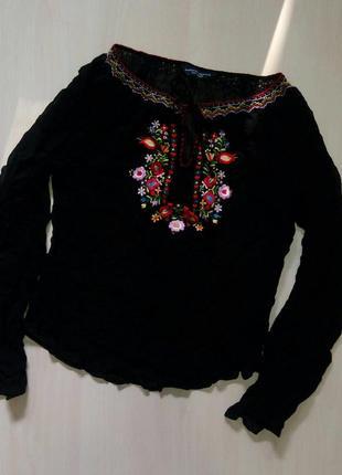🍀шифоновая чёрная блуза вышиванка с длинными рукавами dorothy perkins