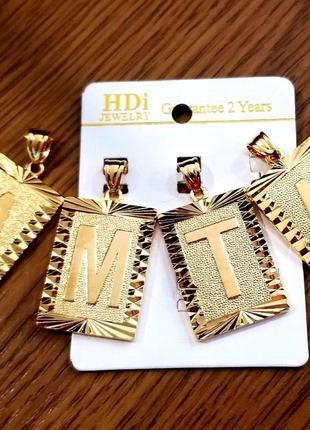 Распродажа!!!подвеска-кулон с инициалами/буквами,золото,комплект