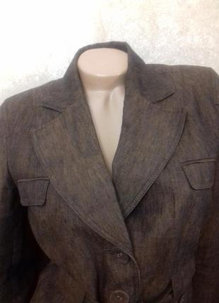 Коричневый льняной жакет, пиджак next, р.s,суперкачество!