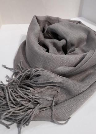 🌸роскошный серый шарф шаль кашемировый качество шикарное
