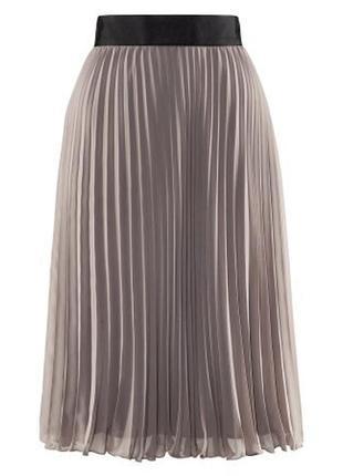 Плиссированная серая юбка h&m