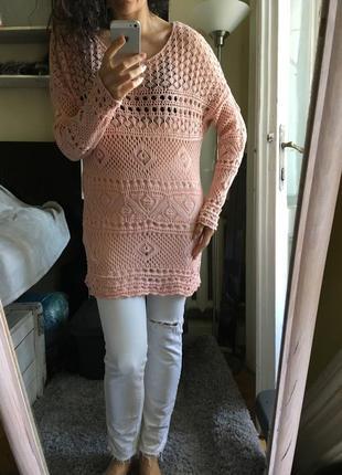 Розовая ажурная туника оверсайз платье крючком 100% хлопок италия 10-12-14