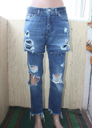 Крутые оригинальные джинсы с дырками и шортами zara   xs-s