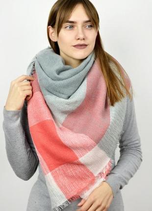 Теплый шарф плед платок в клетку  персиковый  осень-зима