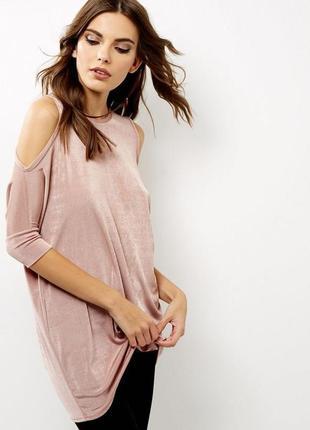 Удлиненная блуза-туника с открытыми плечиками new look