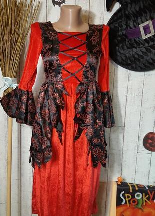 Маскарадное платье ведьмы карнавальный костюм вампирессы хэллоуин helloween 10 - 13 лет