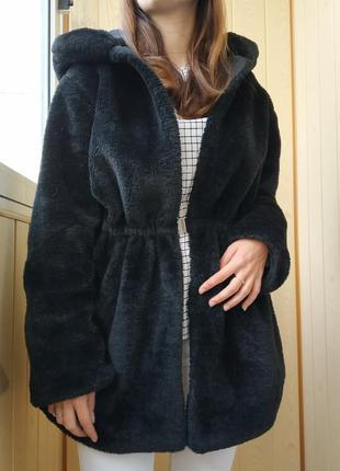Чёрная шуба куртка шубка искусственная