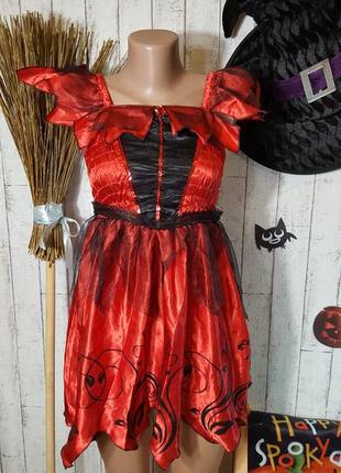 Маскарадное платье вампирессы карнавальный костюм ведьмы на хэллоуин helloween 9 - 10 лет